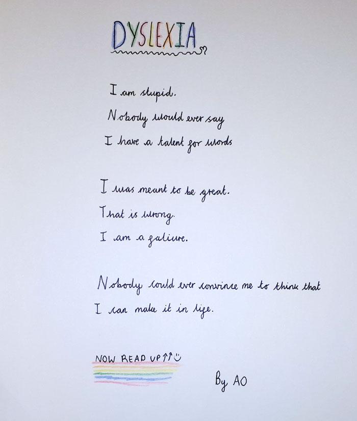 Handwritten poem about dyslexia